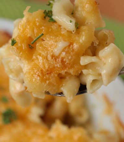 closeup of Homemade Baked Macaroni and Cheese on a fork