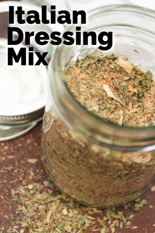 Overhead shot of dry Italian dressing mix in a glass jar