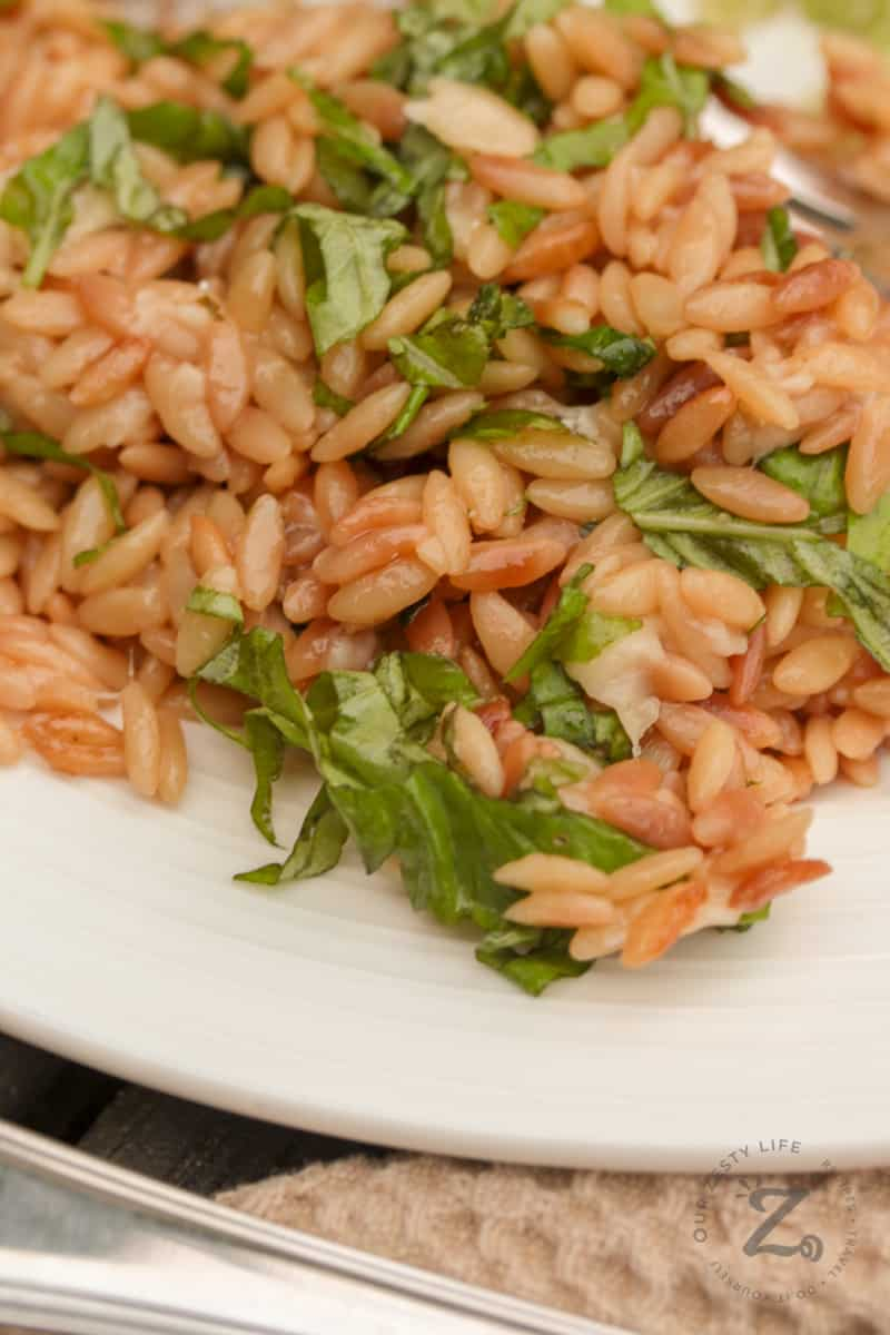 closeup of parmesan orzo with basil on a white plate