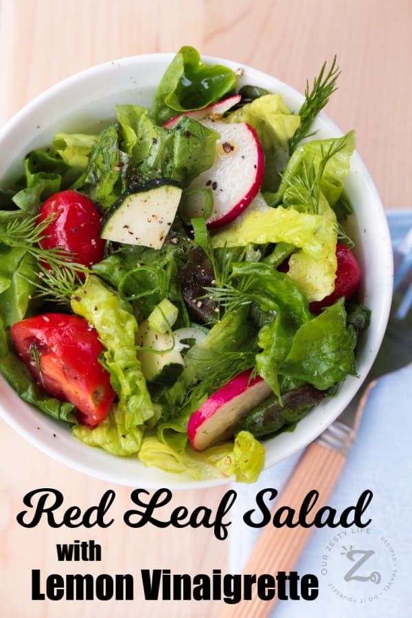 overhead shot of red leaf salad with lemon vinaigrette, with fresh dill, radishes, grape tomatoes and peppers, in a white bowl with a fork and blue napkin on the side