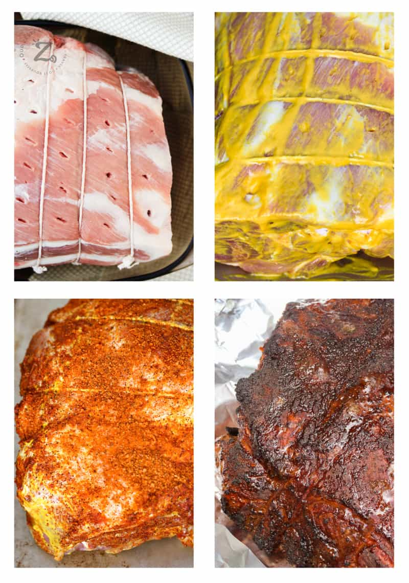 Boston butt (butcher wrapped in twine) with holes poked in the top to add apple mixture, pork shoulder with apple mixture and yellow mustard coated on roast, Boston butt with rub seasoning, final cooked Boston butt before shredding out of the smoker.