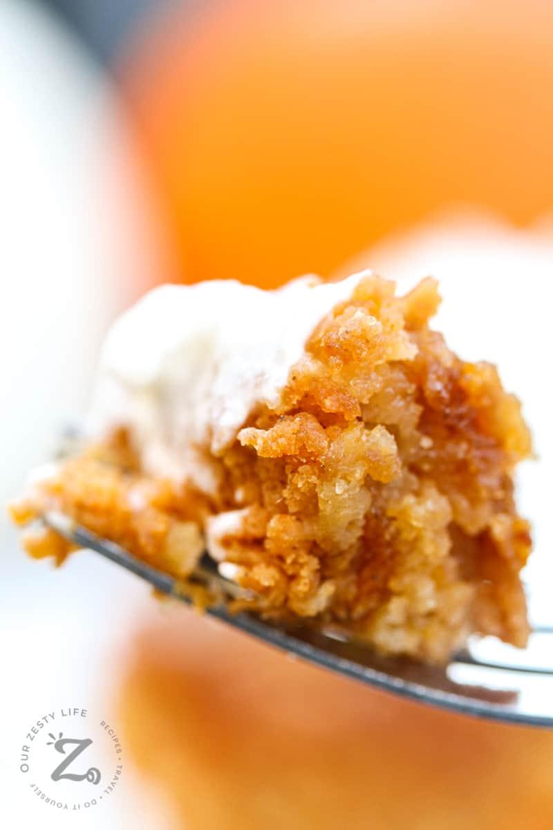 Close up of pumpkin pie crunch on a fork