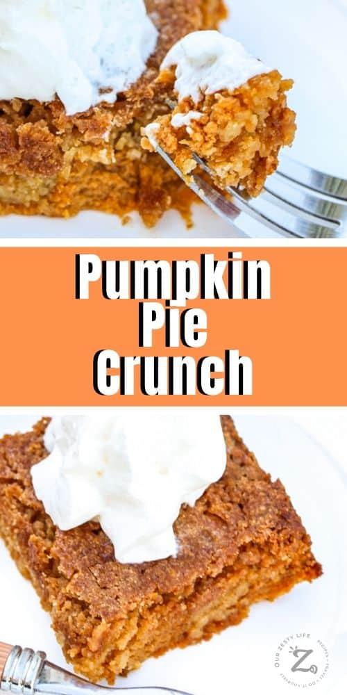 a square of pumpkin pie crunch on a plate topped with whipped cream with a fork with a bite of pumpkin pie crunch in the foreground, a full piece of pumpkin pie crunch