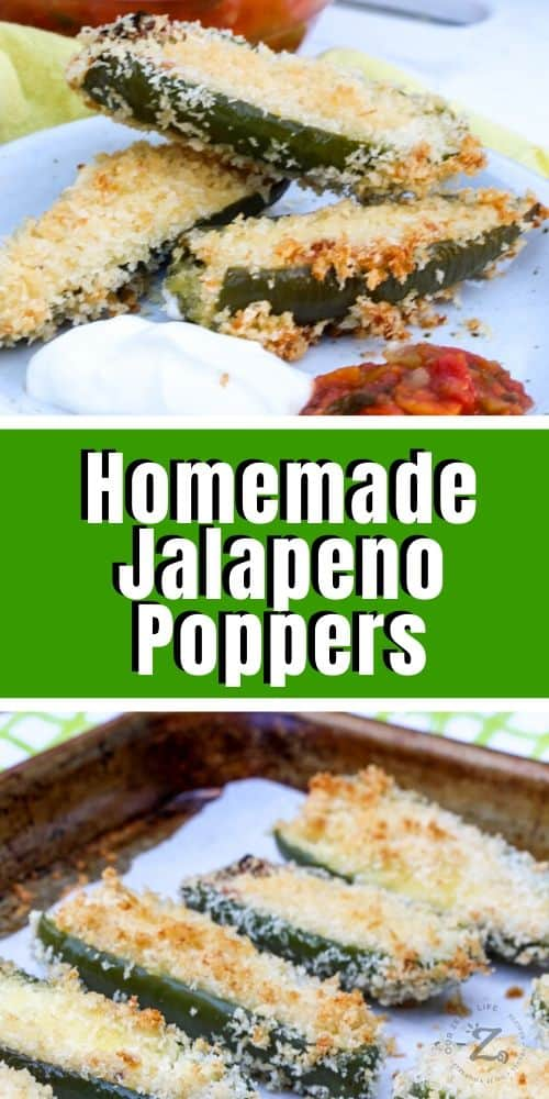a plate of 3 homemade jalapeno poppers with sour cream and salsa, and a picture of easy jalapeno poppers on a baking tray with parchment paper