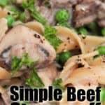 close up of Simple Beef Stroganoff