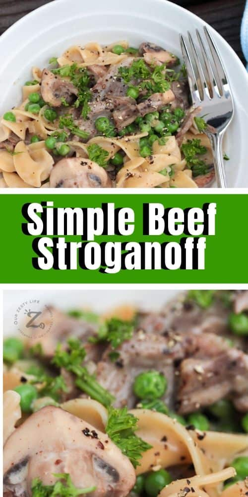 Beef stoganoff on a plate with a fork and a close up photo of beef stoganoff with mushrooms and peas