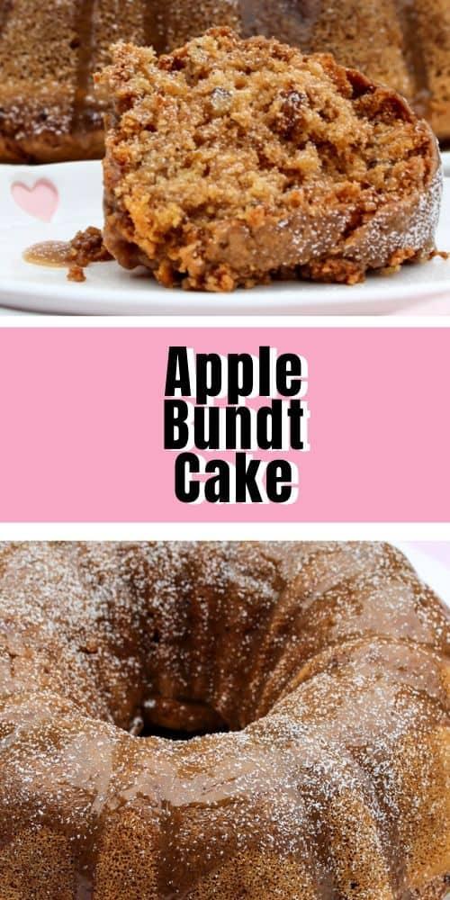 apple bundt cake served on a white dish, whole apple Bundt Cake with glaze