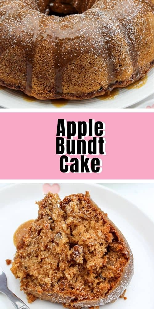 whole fresh apple Bundt Cake with caramel sauce, with a slice apple bundt cake served on a white dish
