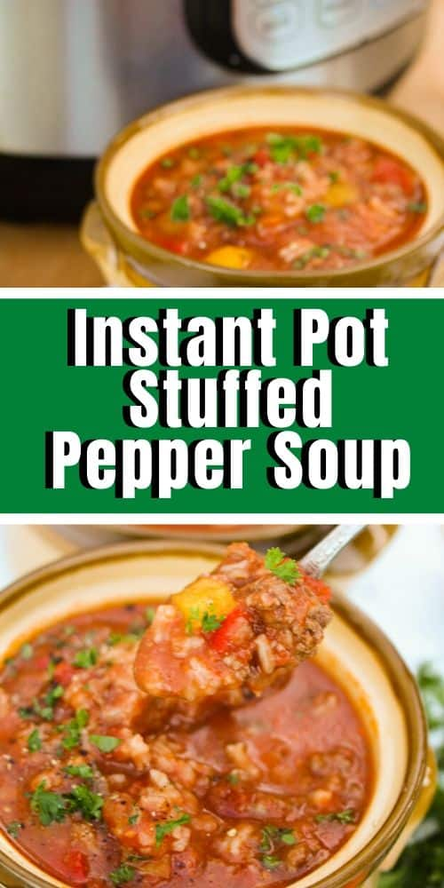 A close up of a spoonful of Instant Pot stuffed pepper soup