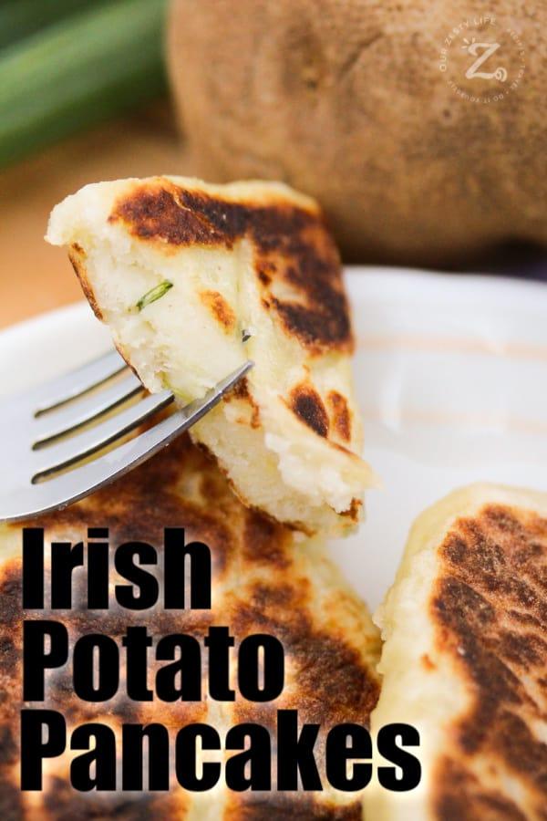 Irish potato pancakes on a white plate with parsley