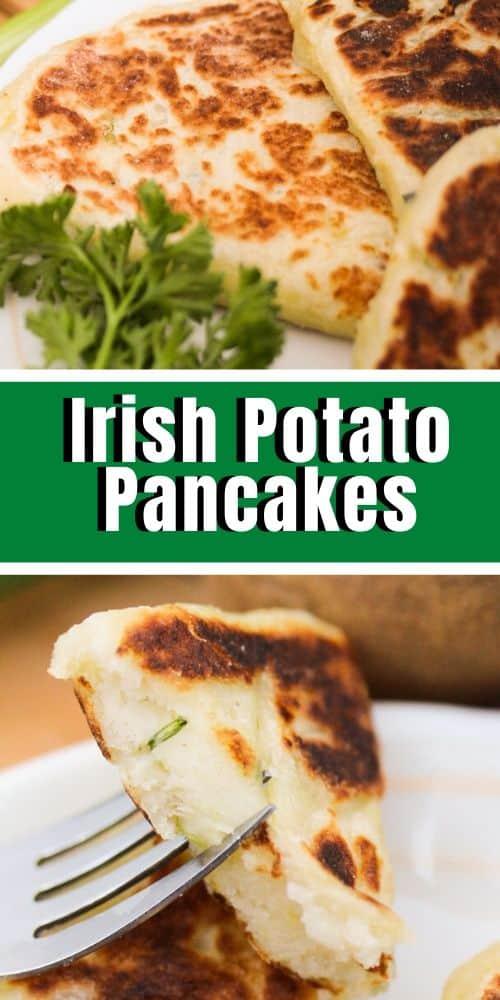Top image - potato pancakes. Bottom image - potato pancakes on a fork.