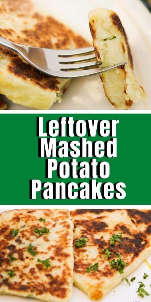 Top image - Irish potato bread on a fork. Bottom image - prepared mashed potato pancakes