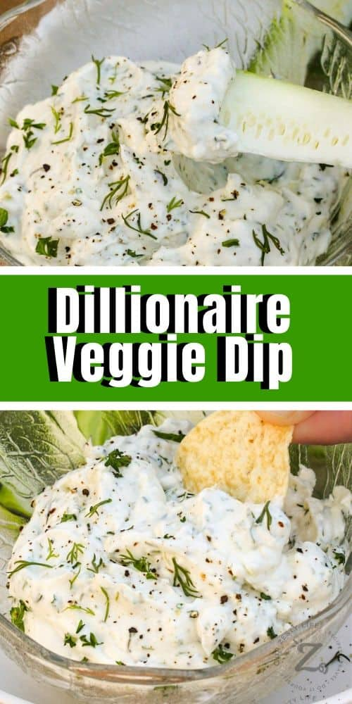 a clear bowl of dill veggie dip with a zucchini dipper, millionaire veggie dip with a tortilla chip