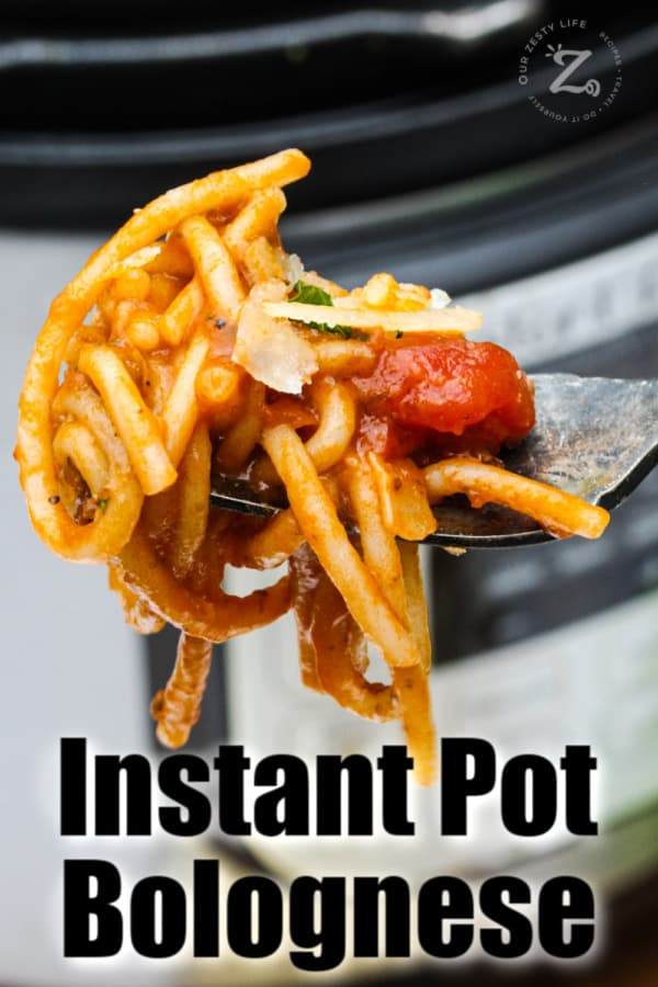 Instant Pot Bolognese with writing