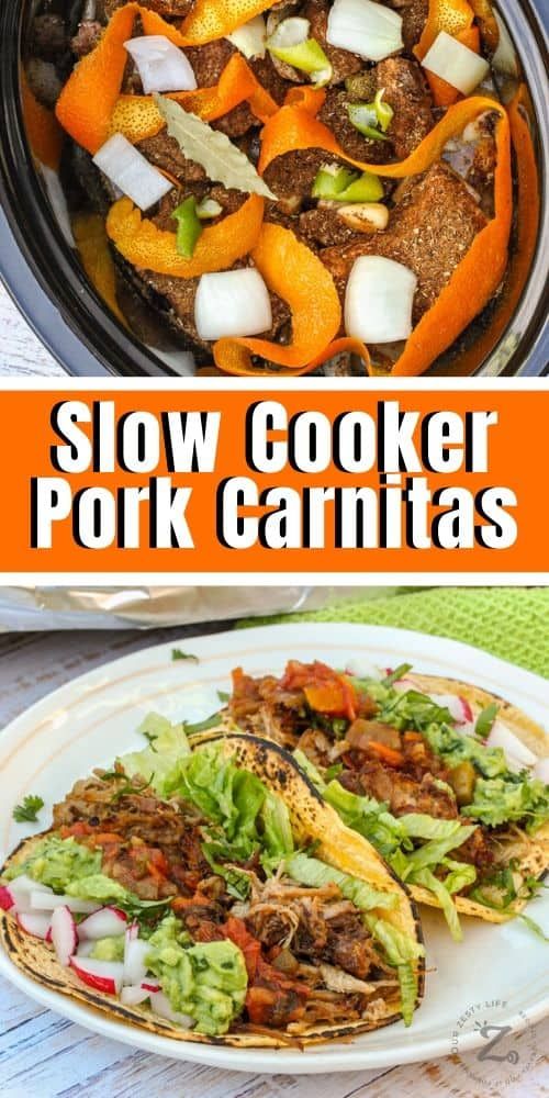 Pork Carnita ingredients in a slow cooker and pork carnitas on a plate with a title