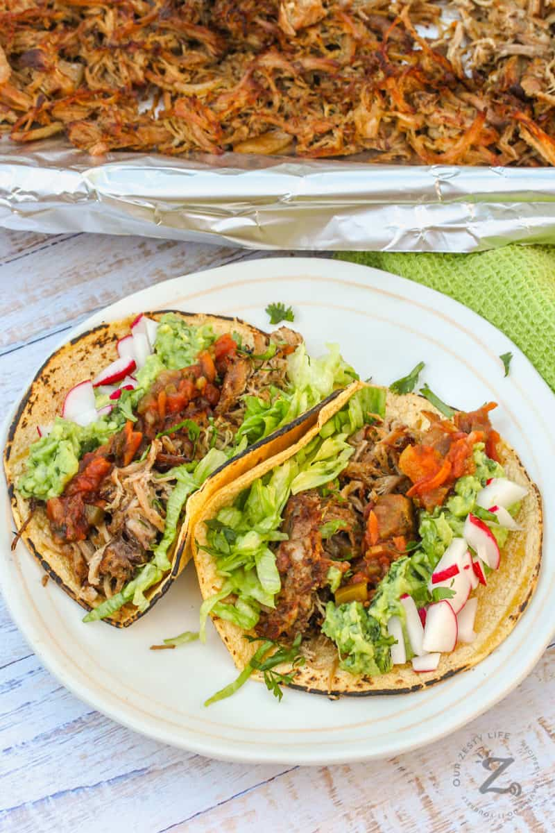 Pork Carnitas on a white plate with radishes and lettuce