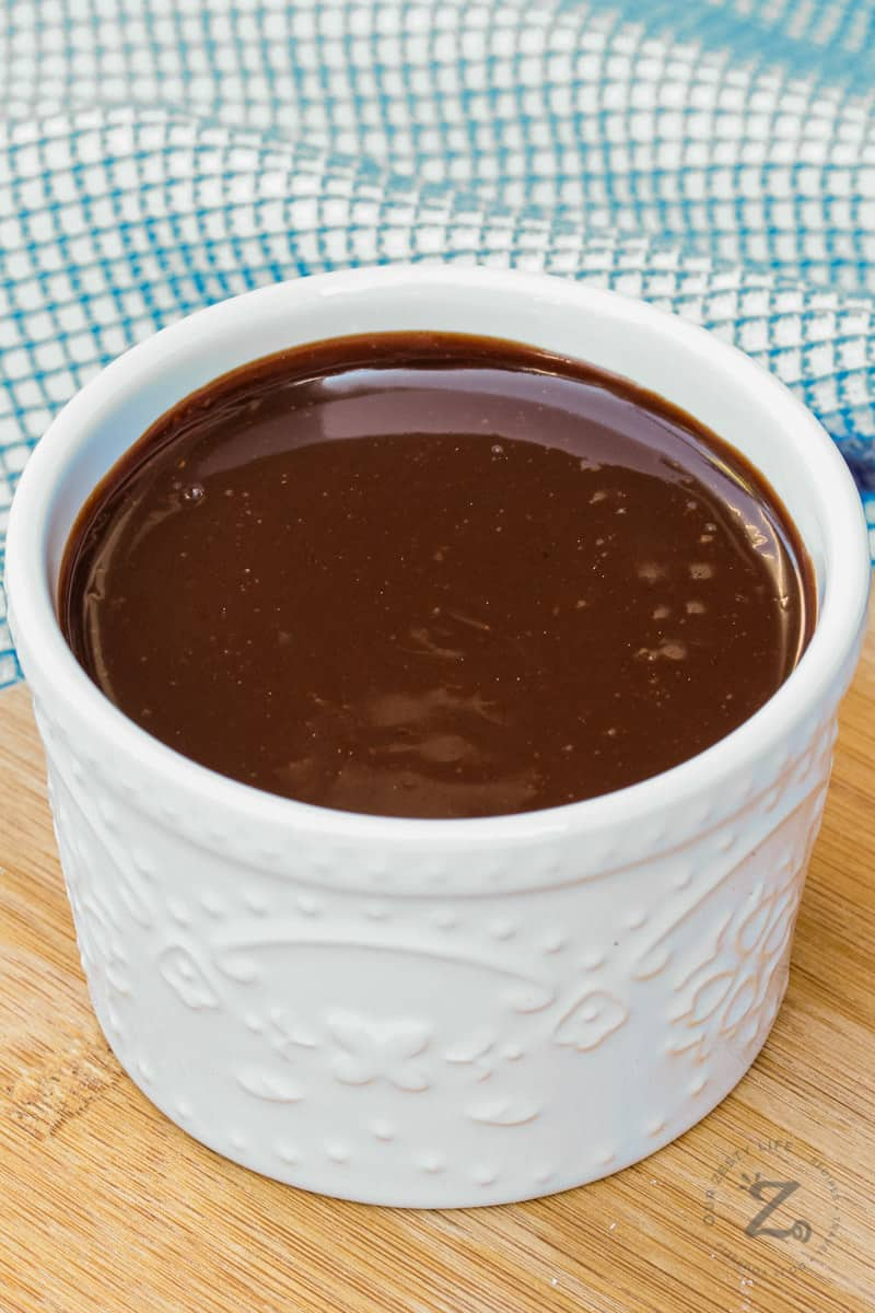 Spicy Chocolate Sauce in a white jar