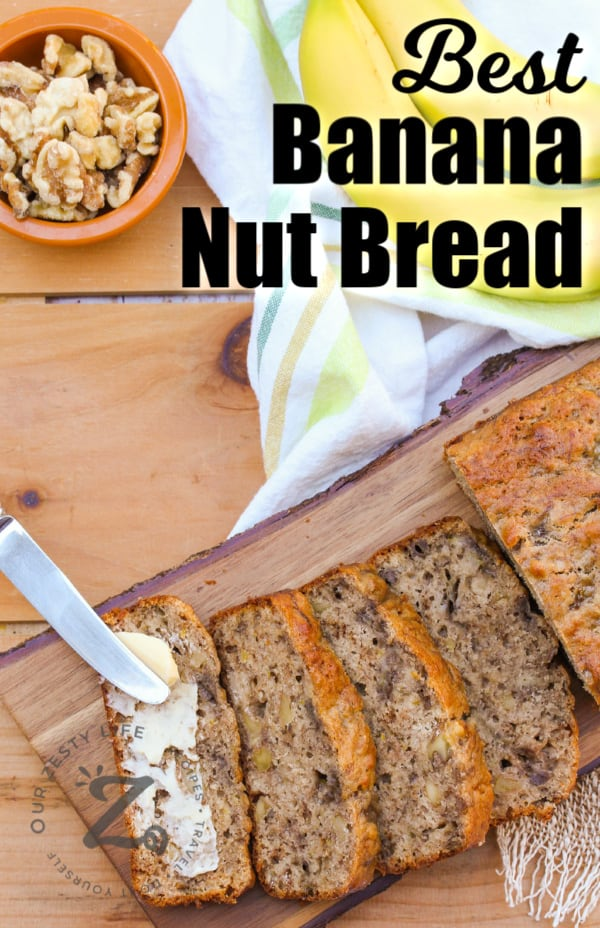 Slices of Banana Walnut Bread on a wooden board with bananas and walnuts on the side with writing