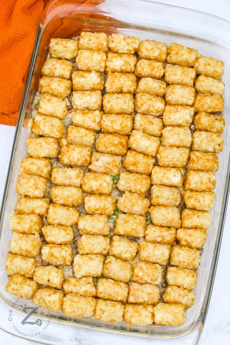 top view of Cheesy Tater Tot Casserole
