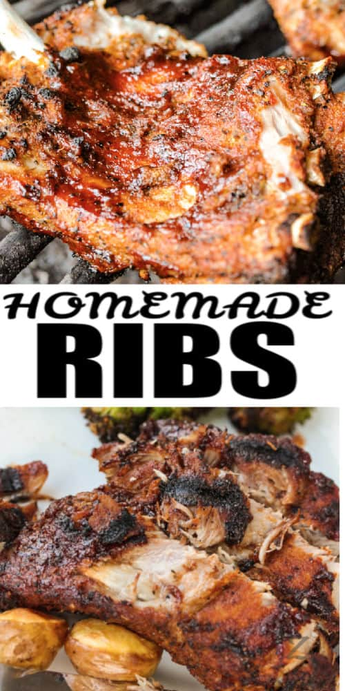 Instant Pot Ribs on a grill and plated with writing