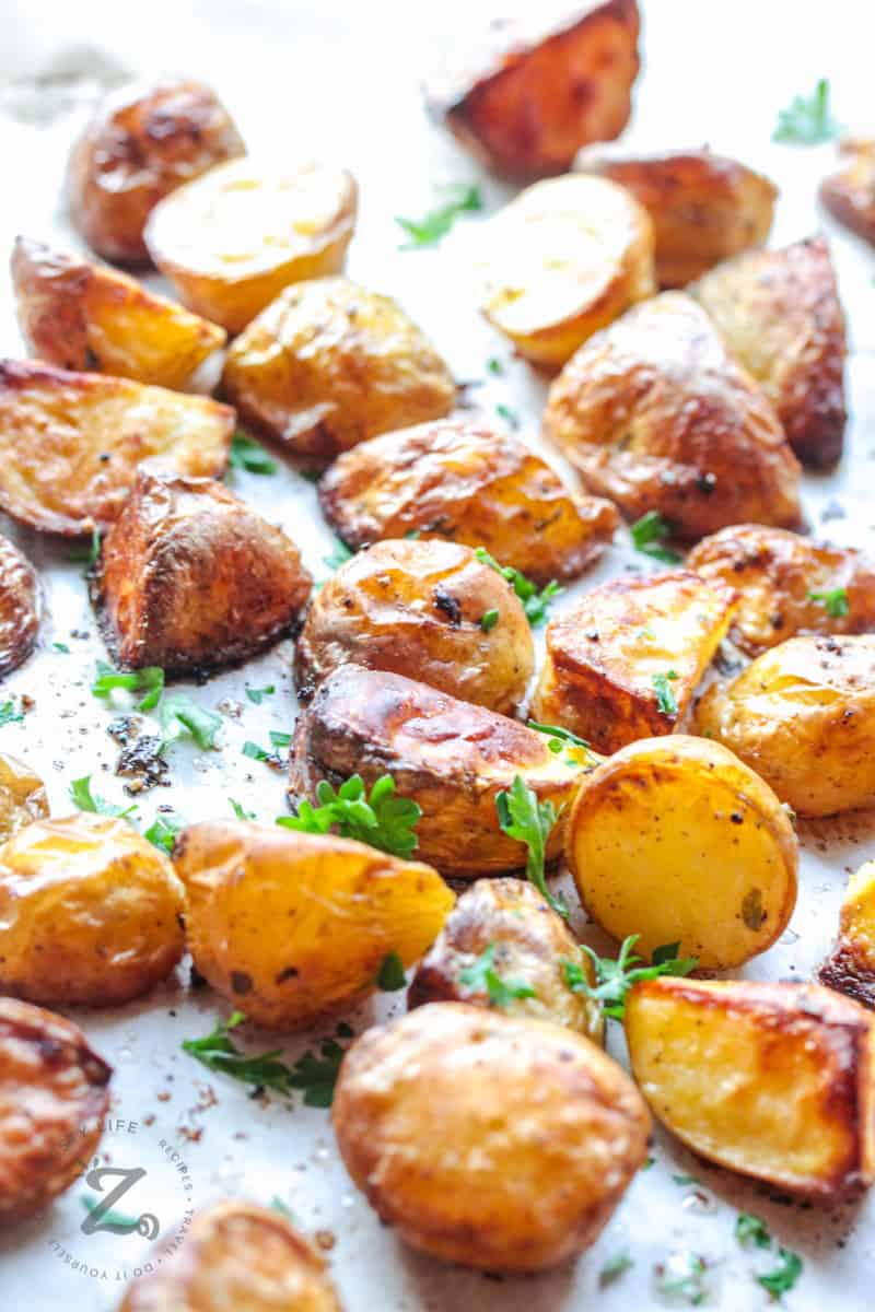 baked Oven Roasted Potatoes on a baking sheet