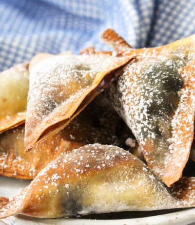 close up of Air Fryer Blueberry Wontons on a plate