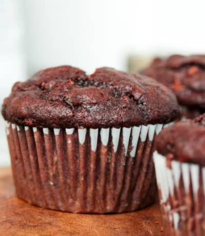 close up of Chocolate Banana Muffins