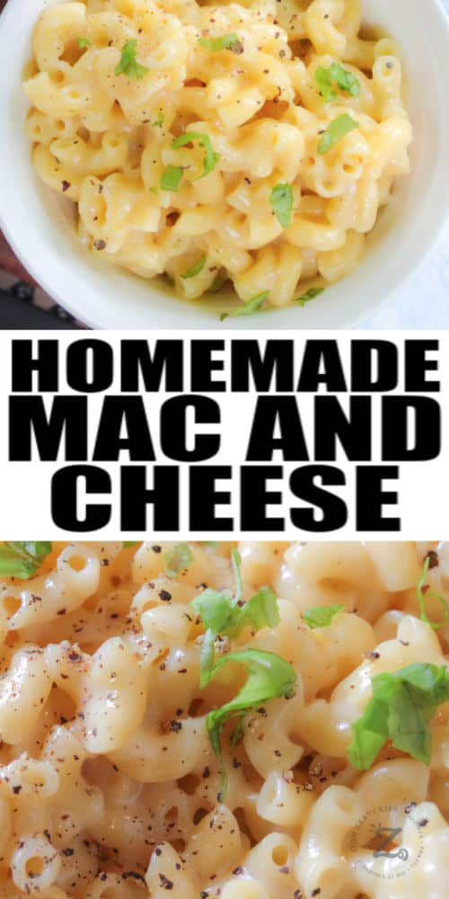 top view and close up of Homemade Creamy Mac and Cheese with a title