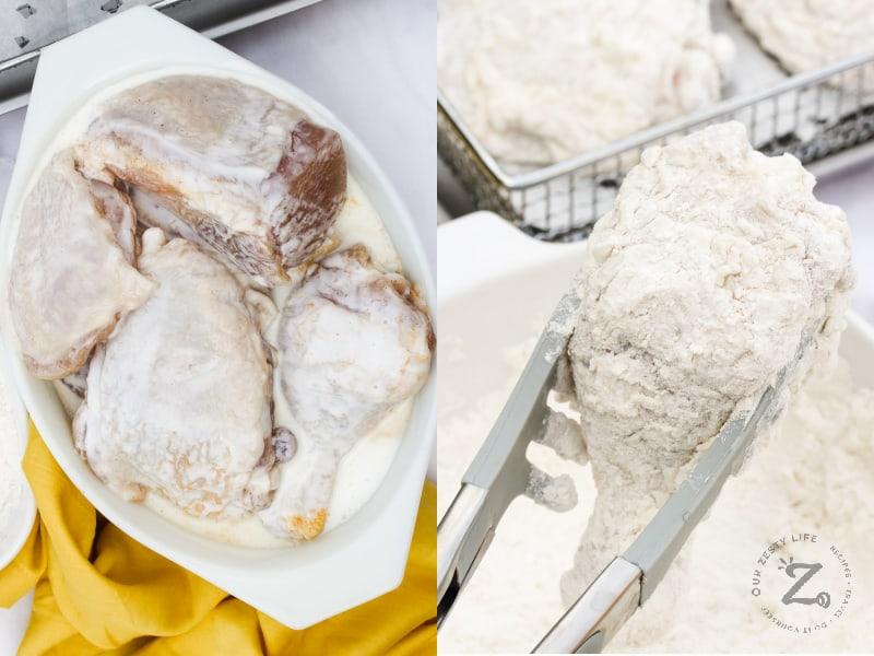 soaking chicken in buttermilk, coating Air Fryer Buttermilk Fried Chicken with flour
