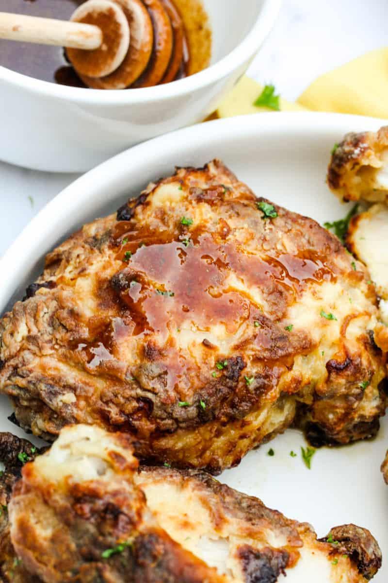 close up of Air Fryer Buttermilk Fried Chicken