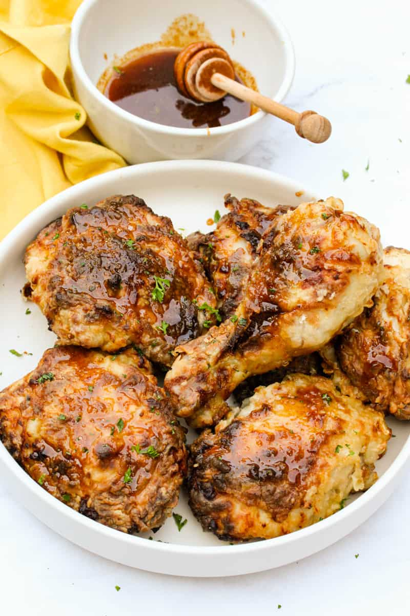Air Fryer Buttermilk Fried Chicken in a bowl with sauce
