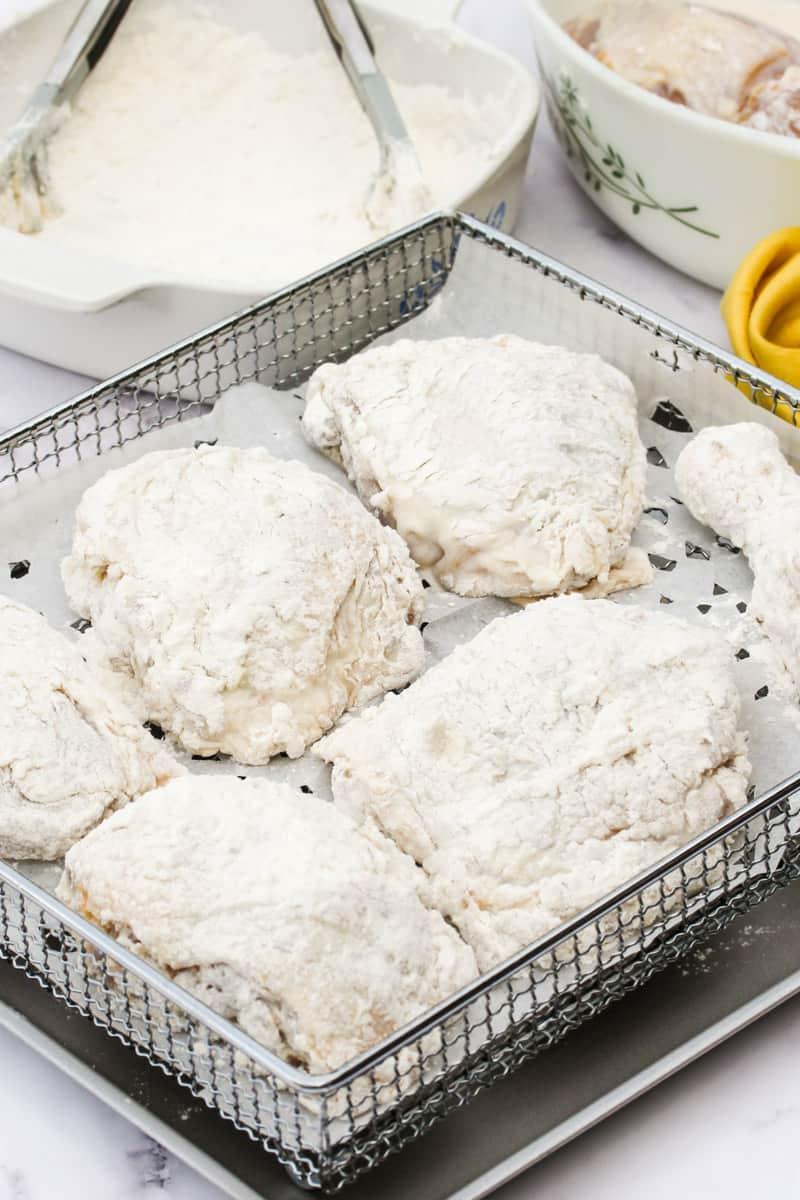 Air Fryer Buttermilk Fried Chicken on the air fryer rack