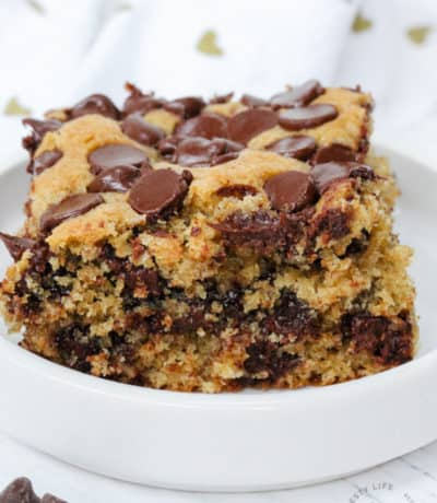 close up of Sourdough Chocolate Chip Cookie Bar on a plate