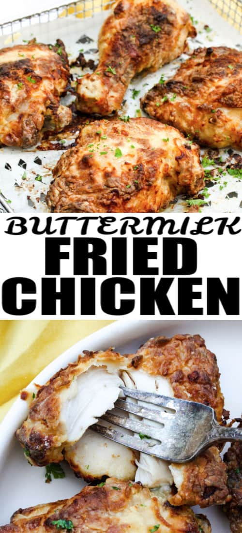 close up of cooked Air Fryer Buttermilk Fried Chicken with writing