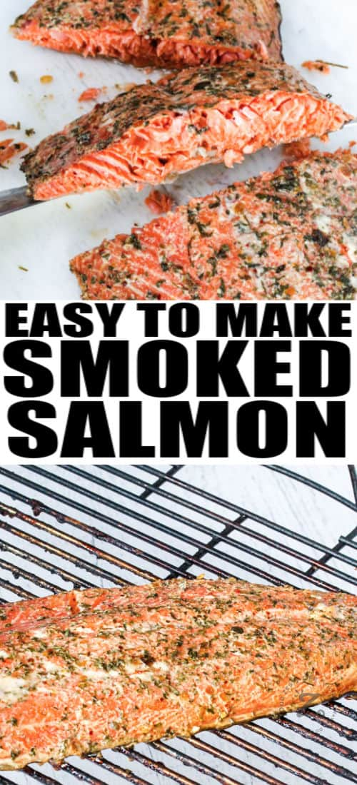 Smoked Salmon cut and whole on the grill with a title