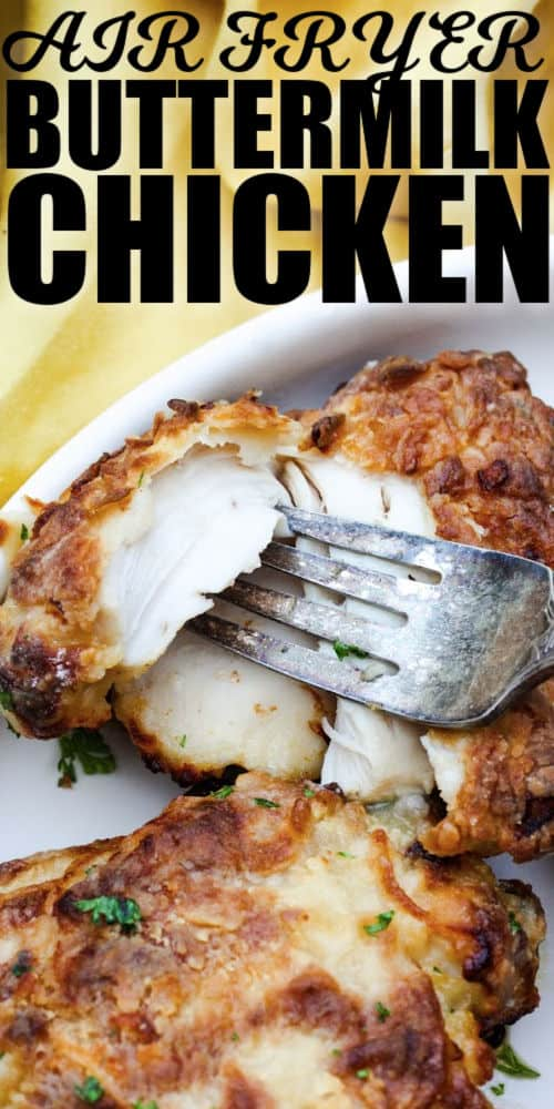 piece of Air Fryer Buttermilk Fried Chicken with writing