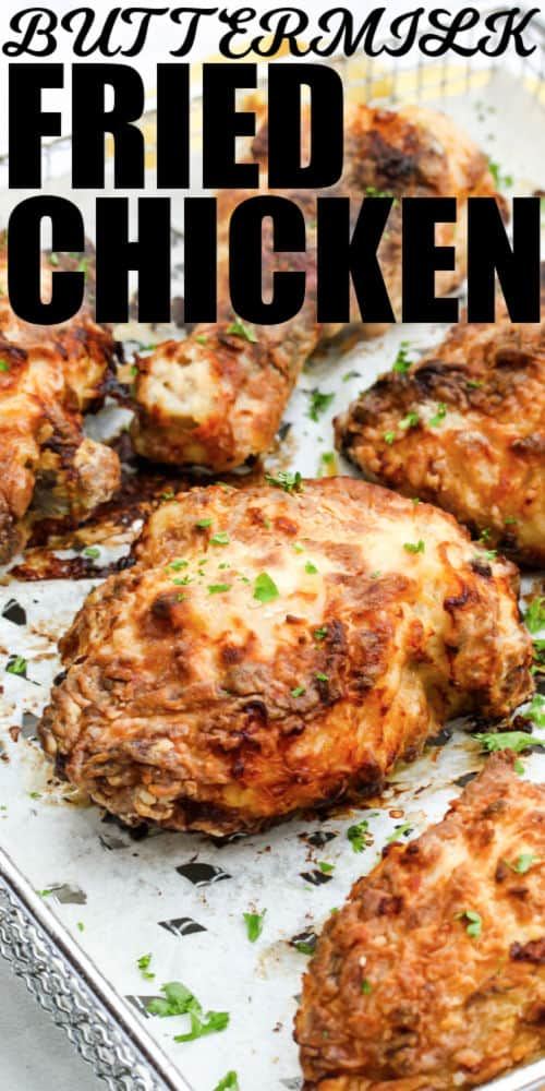 Air Fryer Buttermilk Fried Chicken with writing