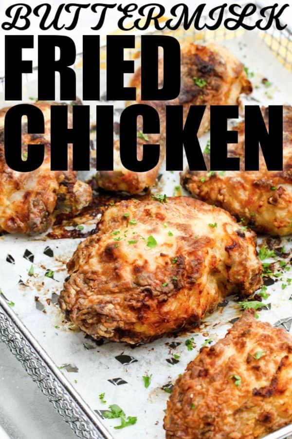 Air Fryer Buttermilk Fried Chicken with a title