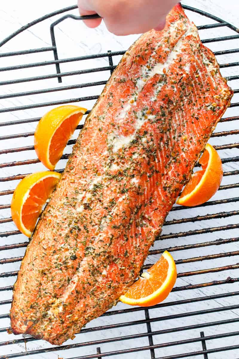 top view of Smoked Salmon on a rack