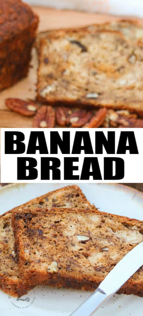 Simple Banana Bread on a cutting board and platedwith writing