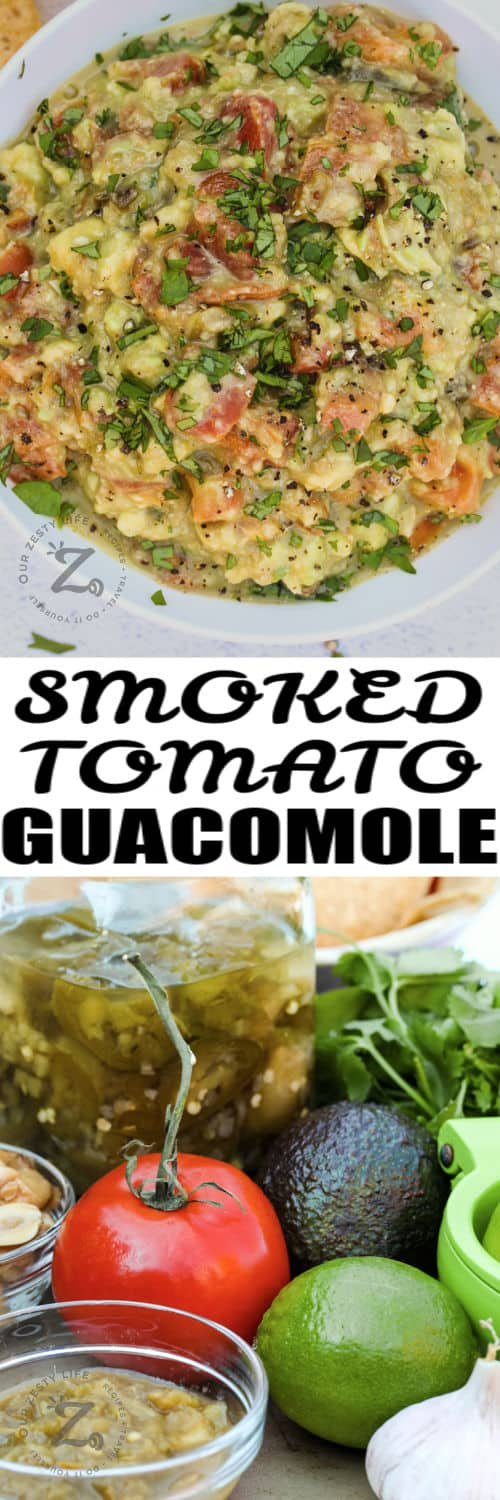 ingredients to make Smoked Tomato Guacamole with finished dish in a bowl with writing