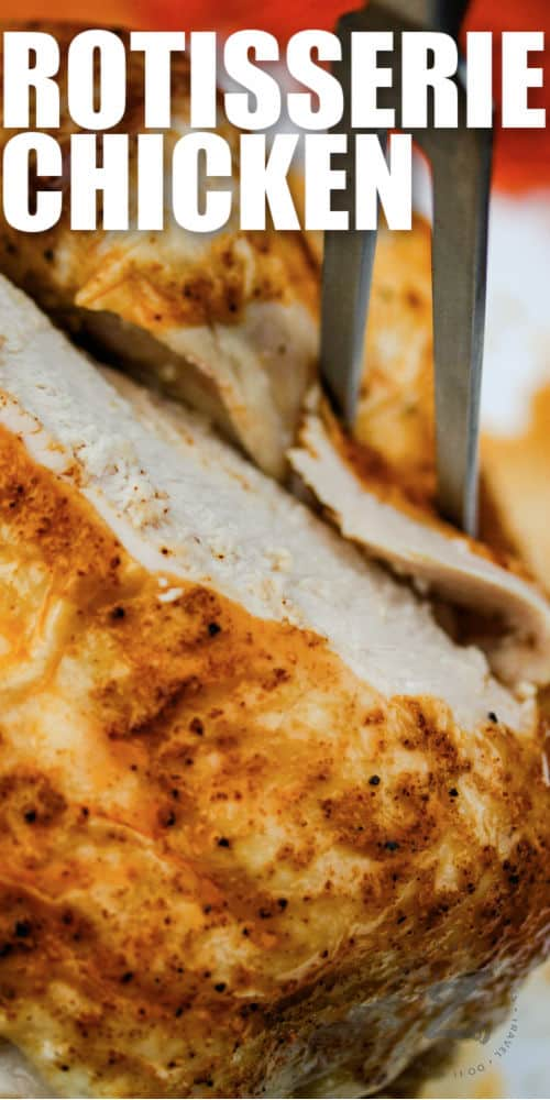 cutting Rotisserie Chicken with writing