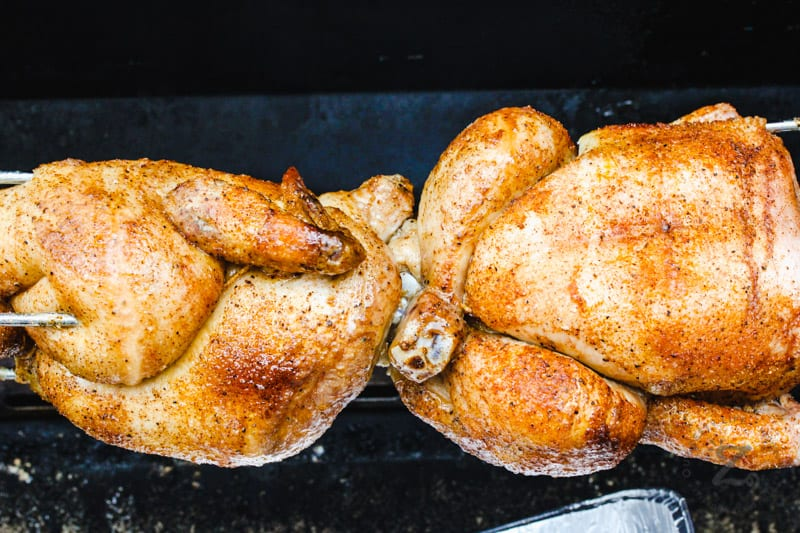 Rotisserie Chickens on the rack in the oven