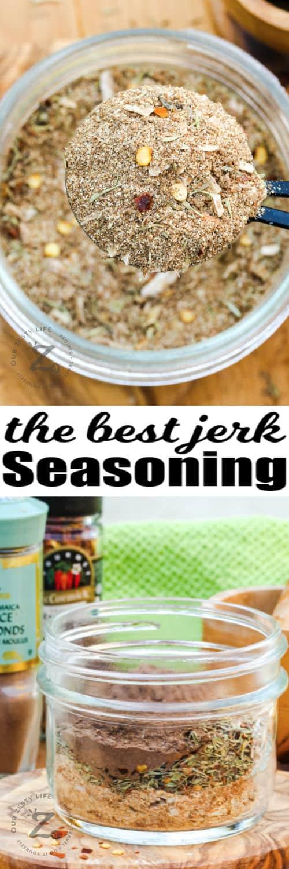 ingredients to make Jerk Seasoning Recipe with finished dish in a jar