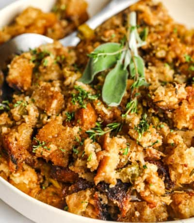 Sourdough Stuffing with a spoon