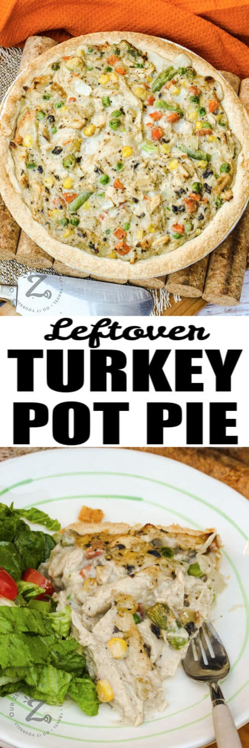 Leftover Turkey Pot Pie after cooking and plated with a title