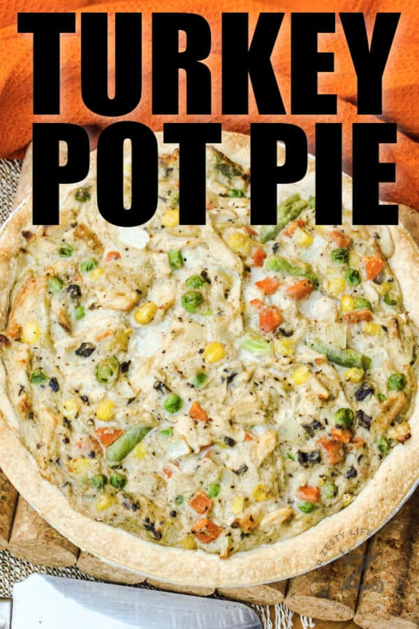 Leftover Turkey Pot Pie after cooking with a title