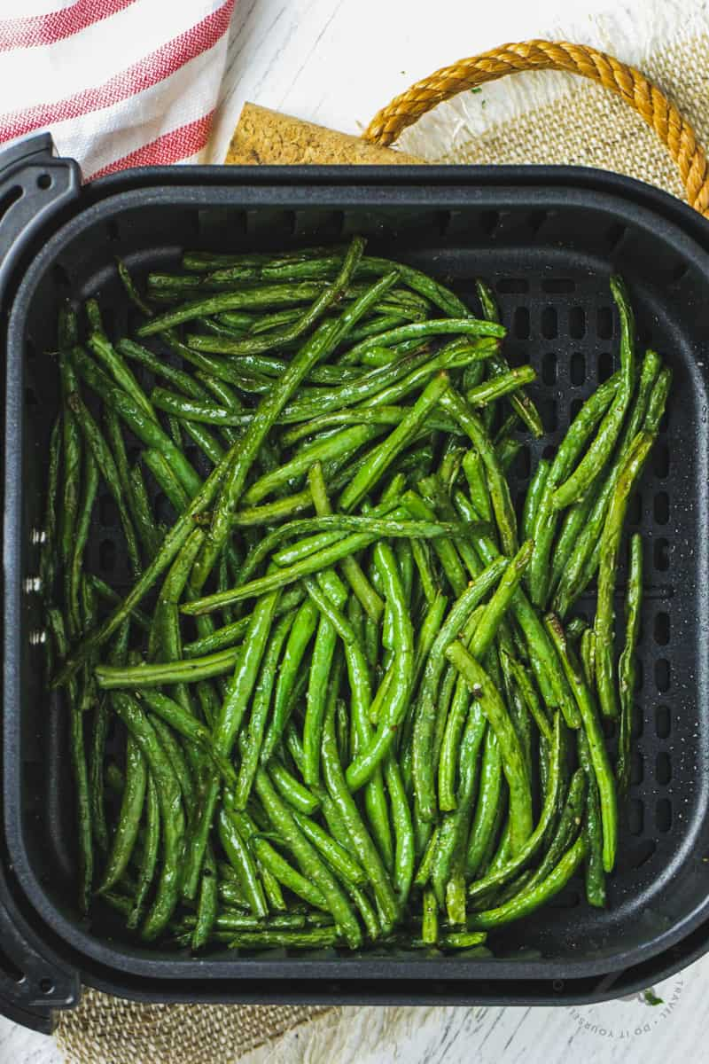 top view of Air Fryer Green Beans in the air fryer