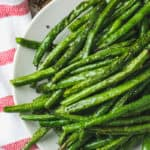 top view of plated Air Fryer Green Beans