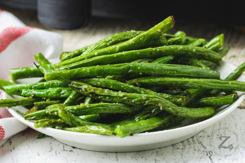 plated Air Fryer Green Beans